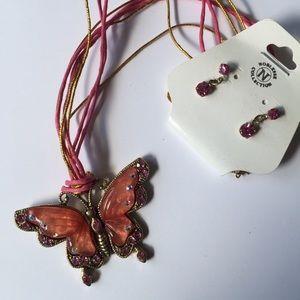 Jewelry - Butterfly Necklace/Earrings set NWT
